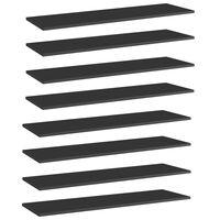 vidaXL Kirjahyllytasot 8 kpl korkeakiilto musta 100x30x1,5cm lastulevy