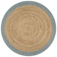 vidaXL Käsintehty juuttimatto oliivinvihreällä reunalla 90 cm