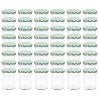 vidaXL Lasiset hillopurkit valkovihreillä kansilla 48 kpl 400 ml