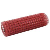 vidaXL Kanaverkko teräs PVC pinnoitteella 25x0,5 m punainen