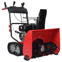vidaXL kaksivaiheinen lumilinko punainen ja musta muovi 196 cc 6,5 HP