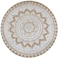 vidaXL Pyöreä matto kuvioitu punottu juutti 90 cm