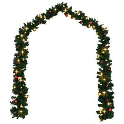 vidaXL Jouluköynnös koristeltu joulupalloilla ja LED-valoilla 20 m