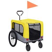 vidaXL 2-in-1 lemmikkikärry pyörään/juoksurattaat keltainen ja harmaa