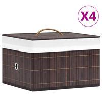 vidaXL Säilytyslaatikot bambu 4 kpl ruskea