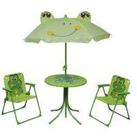 vidaXL 3-osainen Lasten Puutarhan Bistrosarja aurinkovarjolla vihreä
