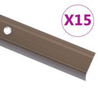 vidaXL Portaikon suojukset L-muotoiset 15 kpl alumiini 134 cm ruskea