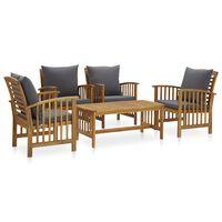 3057982 vidaXL 5 Piece Garden Lounge Set with Cushions Solid Acacia Wood (310255+2x310258)