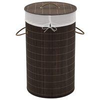 vidaXL Bambu pyykkikori pyöreä tummanruskea