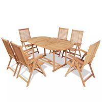 vidaXL 7-osainen Ulkoruokailuryhmä kokoontaittuvat tuolit tiikki