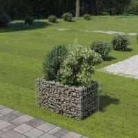 vidaXL Korotettu kivikori/kukkalaatikko galvanoitu teräs 90x50x50 cm