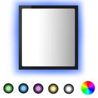 vidaXL LED-kylpyhuonepeili korkeakiilto musta 40x8,5x37 cm lastulevy