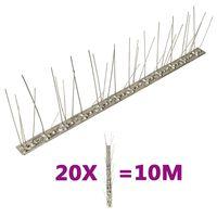 vidaXL 5-riviset lintu- ja kyyhkyspiikit ruostumaton teräs 20 kpl 10 m