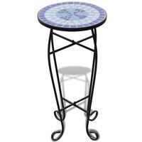 vidaXL Sivupöytä/kasviteline mosaiikkikuvio sininen ja valkoinen
