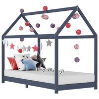vidaXL Lasten sängynrunko harmaa täysi mänty 90x200 cm
