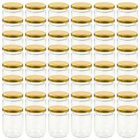 vidaXL Lasiset hillopurkit kullan värisillä kansilla 48 kpl 230 ml
