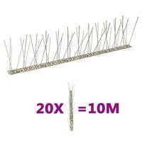 vidaXL 2-riviset lintu- ja kyyhkyspiikit ruostumaton teräs 20 kpl 10 m
