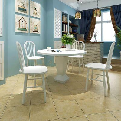 vidaXL Ruokapöydän tuolit 4 kpl valkoinen täysi kumipuu