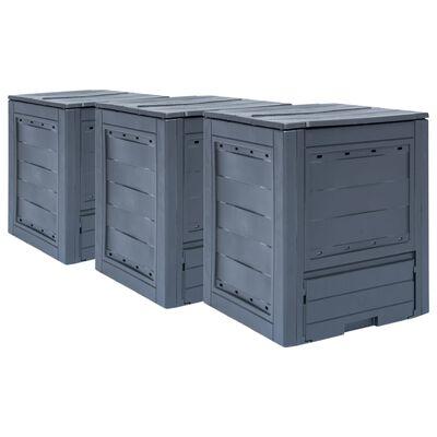 vidaXL Puutarhan kompostit 3 kpl 60x60x73 cm 780 l harmaa