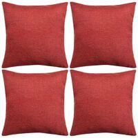 vidaXL Tyynynpäällinen Pellavatyylinen Viininpunainen 4kpl 50 x 50 cm