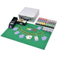 vidaXL Yhdistetty pokeri/blackjack-setti 600 pelimerkillä Alumiini