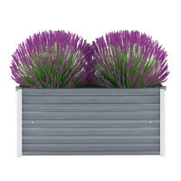 vidaXL Korotettu kukkalaatikko galvanoitu teräs 100x40x45 cm harmaa