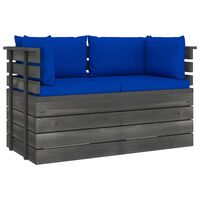 vidaXL Garden 2-Seater Pallet Sofa with Cushions Solid Pinewood (2x315419+2x315074)