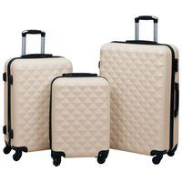 vidaXL Kovapintainen matkalaukkusetti 3 kpl kulta ABS