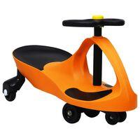 vidaXL Ajettava leluauto kääntökahvalla ja torvella oranssi