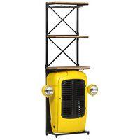 vidaXL Traktoriviinikaappi keltainen 49x31x170cm täysi mangopuu