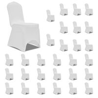 vidaXL Chair Cover Stretch White 30 pcs(5x241197)