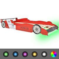 vidaXL Lastensänky LED-valolla kilpa-auto 90x200 cm Punainen
