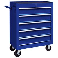 vidaXL Työkalukärry 5 laatikolla sininen