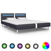 vidaXL Sängynrunko LED-valolla musta keinonahka 180x200 cm