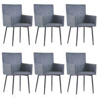 vidaXL Ruokapöydän tuolit käsinojilla 6 kpl harmaa keinomokkanahka