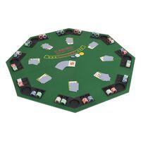 vidaXL Taitettava pokeripöytälevy 8 pelaajalle kahdeksankulmio vihreä