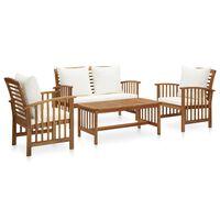 3057975 vidaXL 4 Piece Garden Lounge Set with Cushions Solid Acacia Wood (310257+310263)