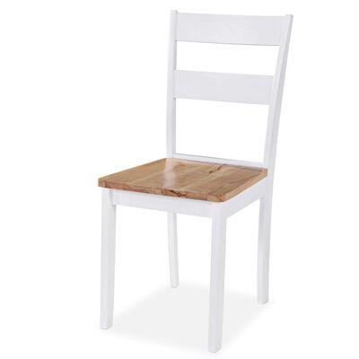 vidaXL Ruokapöydän tuolit 6 kpl valkoinen täysi kumipuu