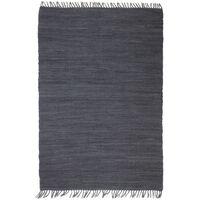 vidaXL Käsin kudottu Chindi-matto puuvilla 80x160 cm antrasiitti