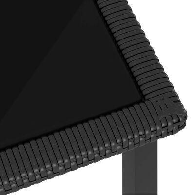 vidaXL Puutarhan ruokapöytä musta 70x70x73 cm polyrottinki