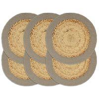 vidaXL Tabletit 6 kpl luonnollinen/harmaa 38 cm juutti ja puuvilla