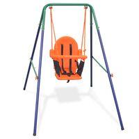 vidaXL Lasten keinusarja turvavaljailla oranssi