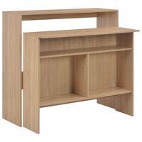 vidaXL Baaripöytä kahdella pöytätasolla tammi 130x40x120 cm