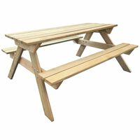 vidaXL Piknikpöytä 150x135x71,5 cm puu
