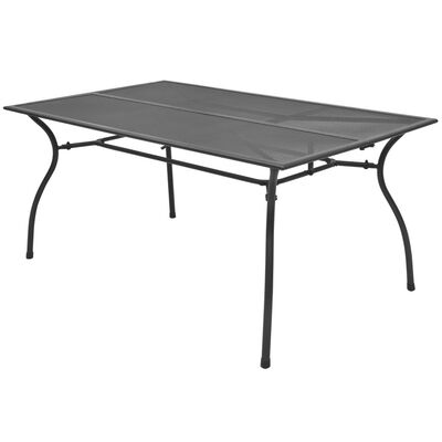 vidaXL Puutarhapöytä 150x90x72 cm teräsverkko