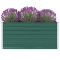 vidaXL Korotettu puutarhalaatikko 160x80x77cm galvanoitu teräs vihreä