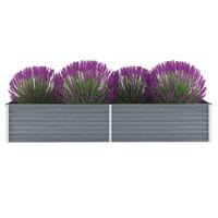 vidaXL Korotettu kukkalaatikko galvanoitu teräs 240x80x45 cm harmaa