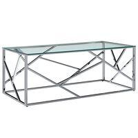 vidaXL Sohvapöytä läpinäkyvä 120x60x40 cm karkaistu lasi ja teräs