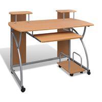 Ruskea Liikkuva Tietokonepöytä Ulosvedettävällä Näppäintasolla