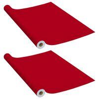 vidaXL Itseliimautuvat huonekalukalvot 2 kpl punainen 500x90 cm PVC